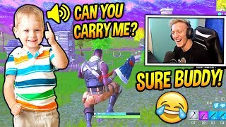 TFUE PLAYS FORTNITE WITH A CUTE LITTLE KID ADORABLE Fortnite SAVAGE FUNNY Moments