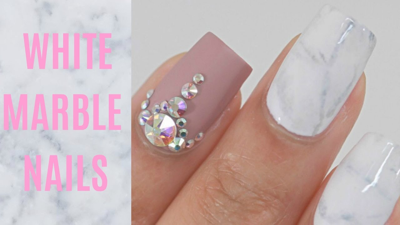 White Marble Nails Youtube