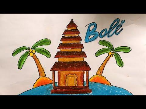 Menggambar Mewarnai Rumah Adat Bali Indonesia Youtube