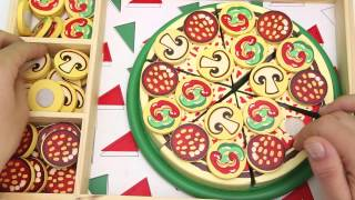 PIZZA PARTY Melissa & Doug Wooden Pizza Slice & Cut Play Food Toddler Toy