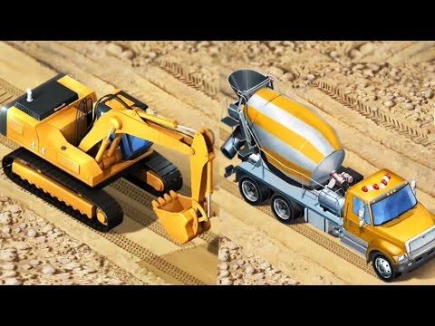 รถแม็คโครการ์ตูน แม็คโครตักดิน รถปูนซีเมนต์ รถปูนการ์ตูน [ วีดีโอสำหรับเด็ก] Excavator Cartoon