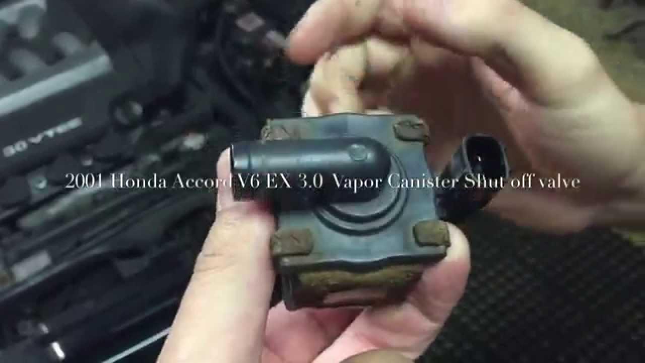 2001 honda accord ex 3 0 v6 vapor canister shutoff valve p1457 fix evap leak  repair super easy!!! - youtube