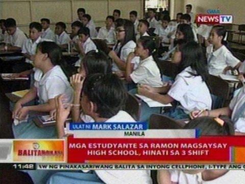 BT: Mga estudyante sa Ramon Magsaysay High   School sa Manila, hinati sa 3 shift