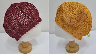 코바늘 여름 그물 보닛 모자