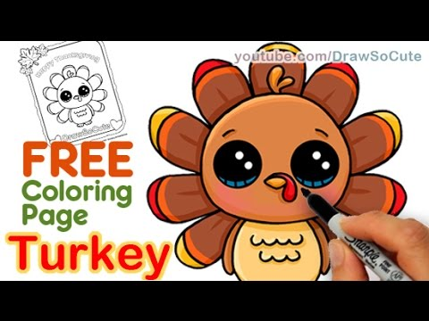 How To Draw A Cute Turkey Step By Easy Thanksgiving