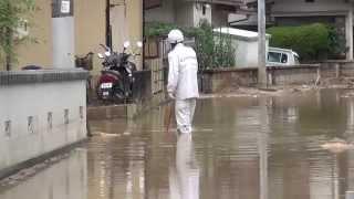 広島市安佐南区土砂災害 八木地区県道270号線(旧国道54号線)の様子
