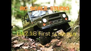 Rc scale studio model 4x4 1:8 UAZ 3151 first scale run