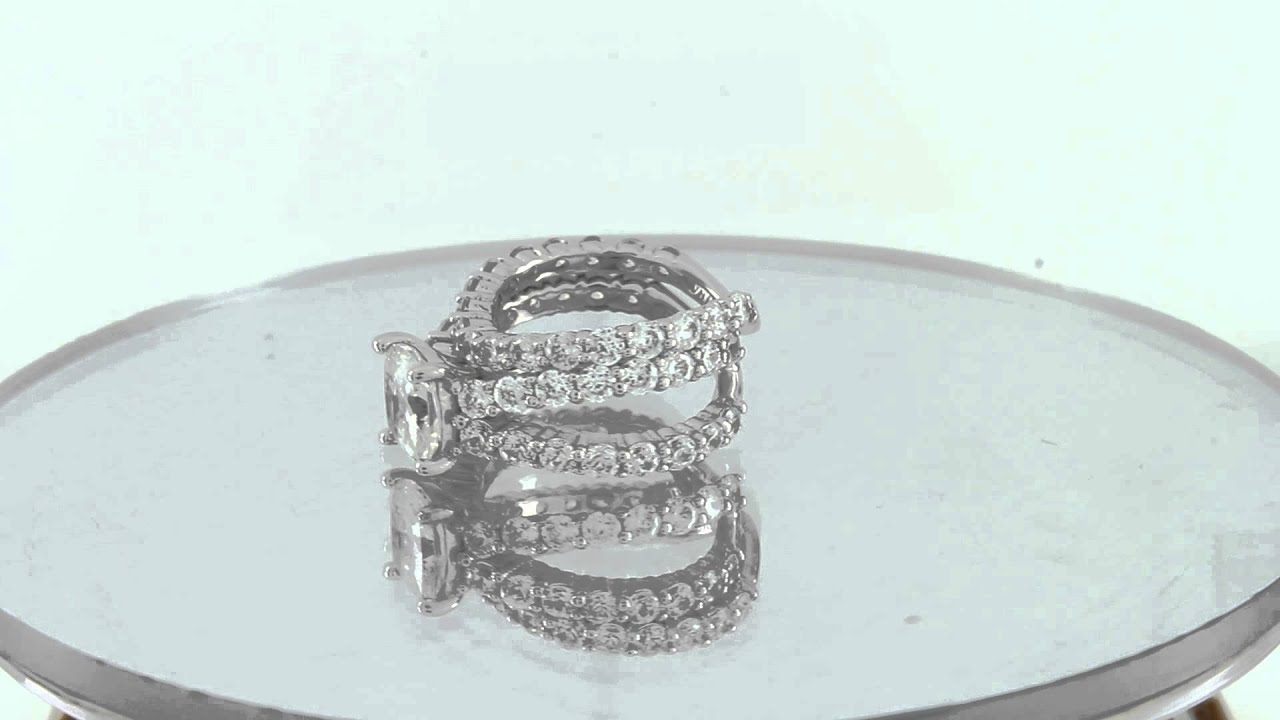 QVC Epiphany Diamonique Sterling Silver 100 Facet 2 pc Bridal Ring