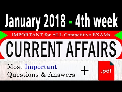 January 2018 4th week - Latest Current Affairs Quiz Question with Answers in Hindi