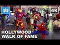 Hollywood Walk of Fame at Night | Virtual Walking Tour | Los Angeles Travel Guide【4K】