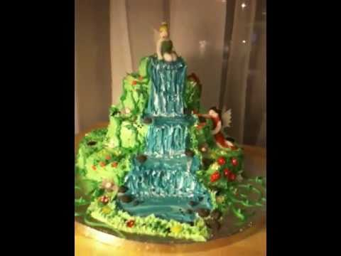 Waterfall With Tinkerbell Fairy Birthday Cake By Fondant