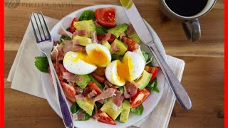 Avocado, Prosciutto, And Tomato Breakfast Salad With Soft Boiled Eggs