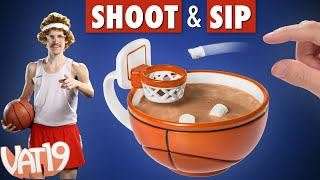 Coffee mug with a basketball hoop!