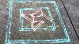 double line rangoli , simple padi kolam with dots