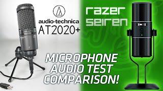 Razer Seiren vs Audio Technica AT2020 USB+ Microphone Audio Test Comparison!