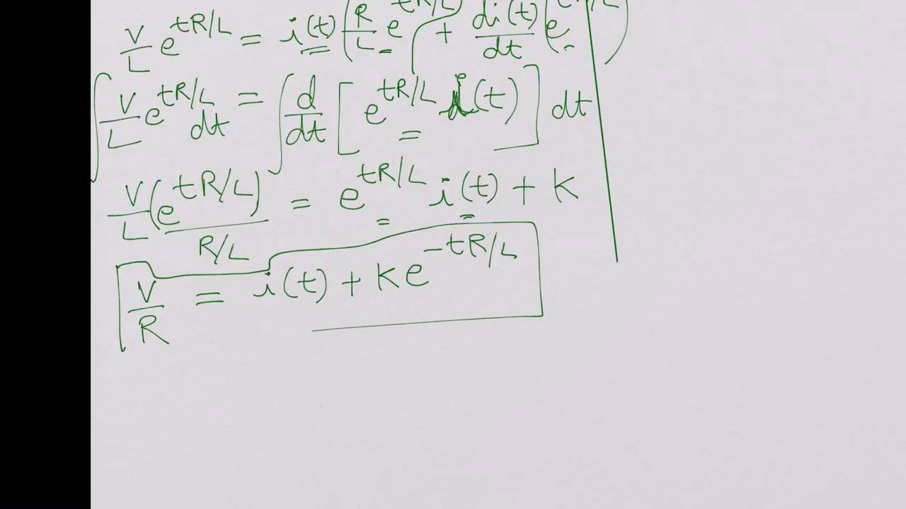 RL Circuit Charging, Solving Differential Equation