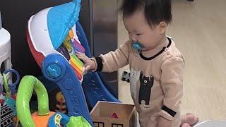 엄마 음악 좀 틀어줄래? 아이존 아기체육관을 주크박스로…