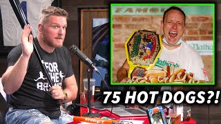 Pat McAfee Reacts To Joey Chestnut Eating 75 Hot dogs In New Record