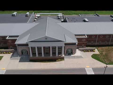 Aerial footage of Hackleburg School & Ray Stadium in Hackleburg, Alabama
