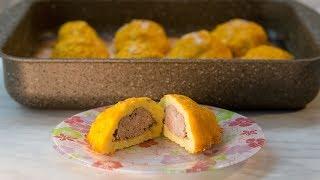 Картофельные шарики с мясом в духовке со сливочно-томатной подливой
