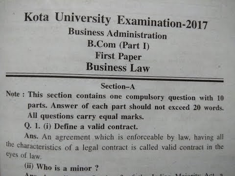 B.com Business law solved paper 2017 kota university