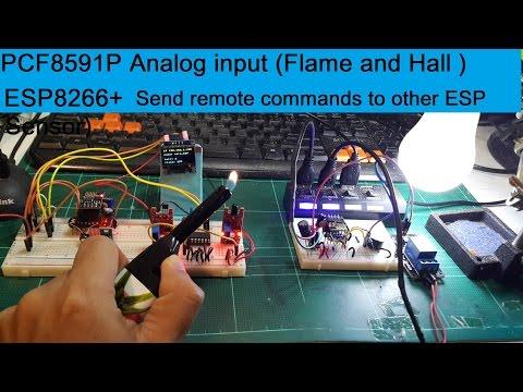 ESP8266(ESPEasy), PCF8591P Analog input (Flame,Hall Sensor)+Send remote cmd to other ESP(Addt1)