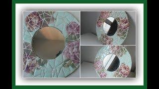 Decoupage sobre telgopor - Falso trencadis - Mosaiquismo - Decoracíon de espejos - DIY - Tutorial