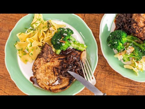 How To Make Thin-Cut Pork Chops With Rosemary-Balsamic Glazed Shallots By Emeril