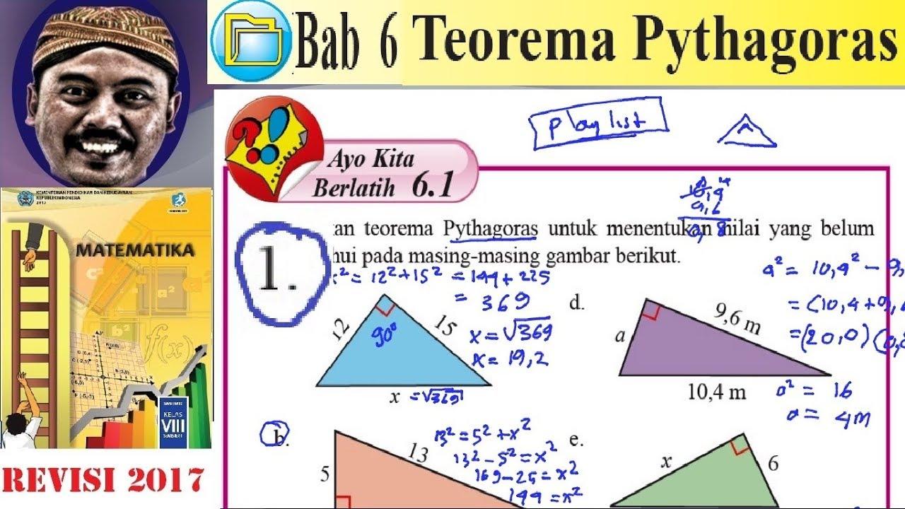 Teorema Pythagoras Matematika Kelas 8 Bse K13 Rev 2017 Ayo Kita Berlatih 6 1 No 1 Youtube