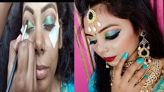 Traditional Indian Engagement makeup Learn Step by Step Party Function Bridal makeup Green blue eye