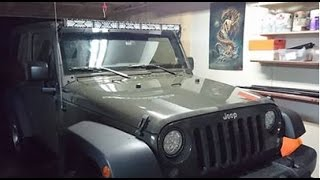 how to mount and wire 50 or 52 inch light bar on jeep wrangler jk windshield
