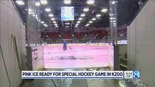 Pink ice rink ready for special hockey game in Kzoo