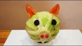 Как сделать поросенка из капусты. Осенние поделки из овощей на выставку в детский сад и школу.