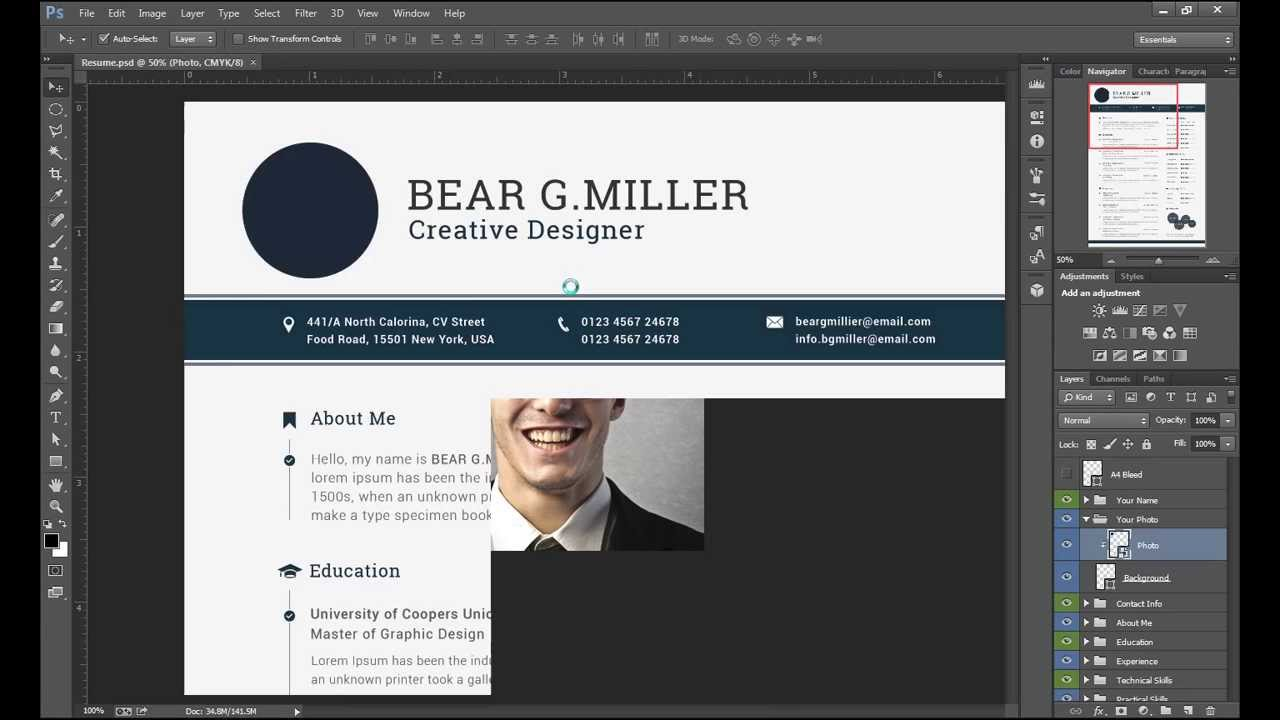 resume  cv editing with adobe photoshop cc