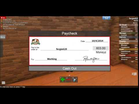 Roblox: Work at a pizza place Infinite Check glitch! [Infinite Moneyz!]