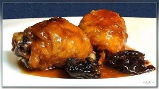 Блюда из курицы  Курица тушеная с яблоком и черносливом