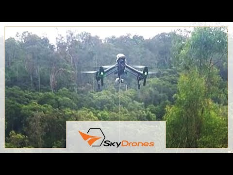 Overhead power line stringing with UAV