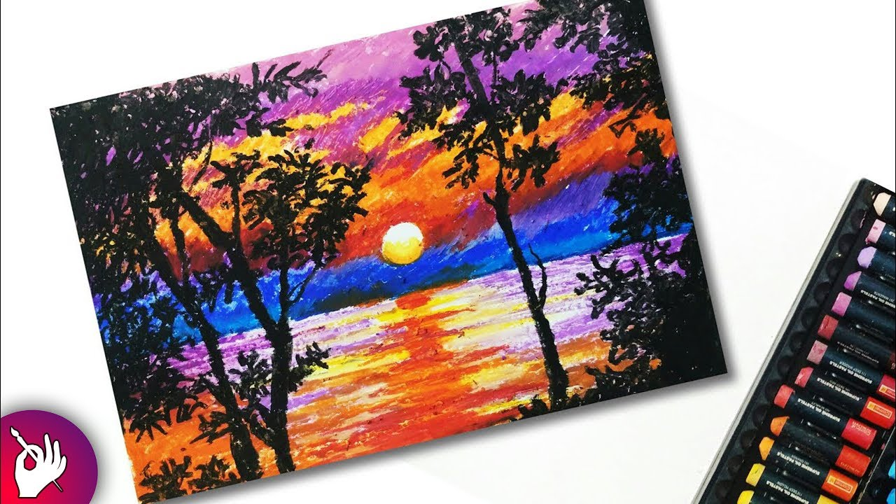 How to draw a beautiful scenery with oil pastels step by ...