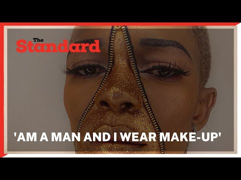 Unique male make-up artist who expresses his art by wearing make-up