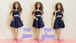 👗Doll dresses making easy NO SEW NO GLUE #barbie #doll #clothes #dresses