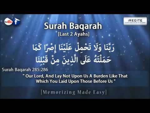 Surah Baqarah [Last 2 Verses] - Sheikh Ziyad Patel    Memori