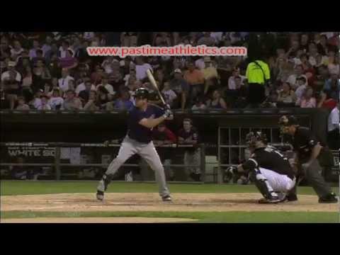 Joe Mauer Slow Motion Home Run Baseball Swing - Hitting Mechanics Instruction Twins MLB