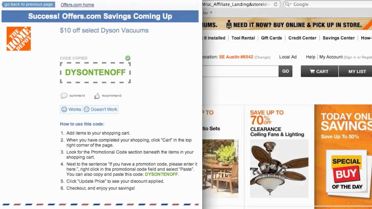 Make sure you're using multiple ways to save on every single purchase, including cash back on top of Home Depot coupons, sales and promo codes. To redeem a Home Depot promo code, find the entry box in the shopping cart after you add an item to the order. Capitalization must match the code in .