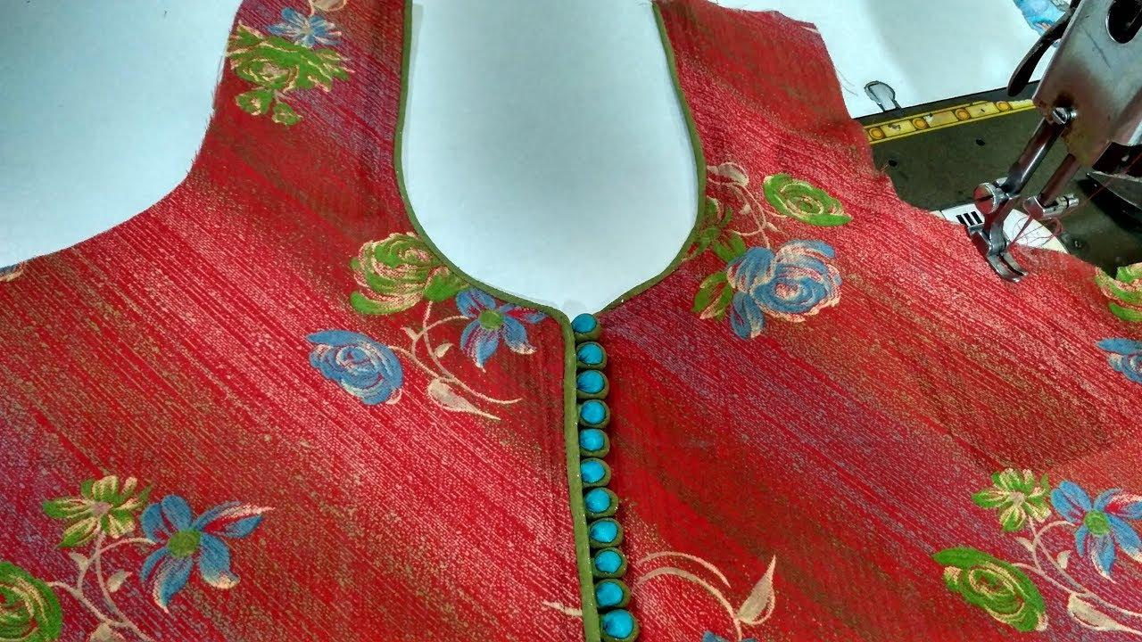 c981d8fe32e927 Latest neck design easy piping with dori potli(foam) button cutting &  stitching/DIY