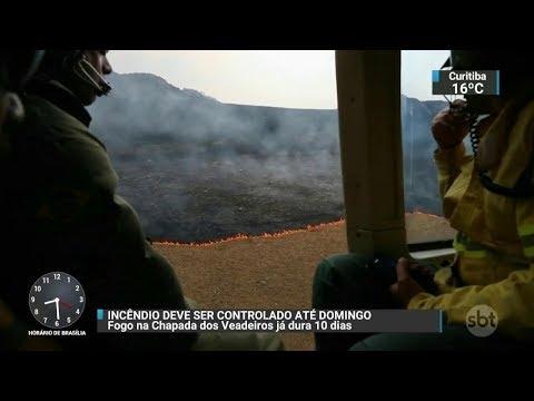 Incêndio na Chapada dos Veadeiros deve ser controlado até domingo (29) | SBT Brasil (27/10/17)