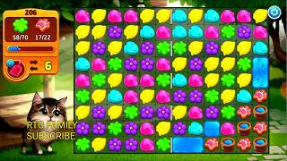Lets play Meow match level 206 HARD LEVEL HD 1080P + 1 hr unlimited lives rewards