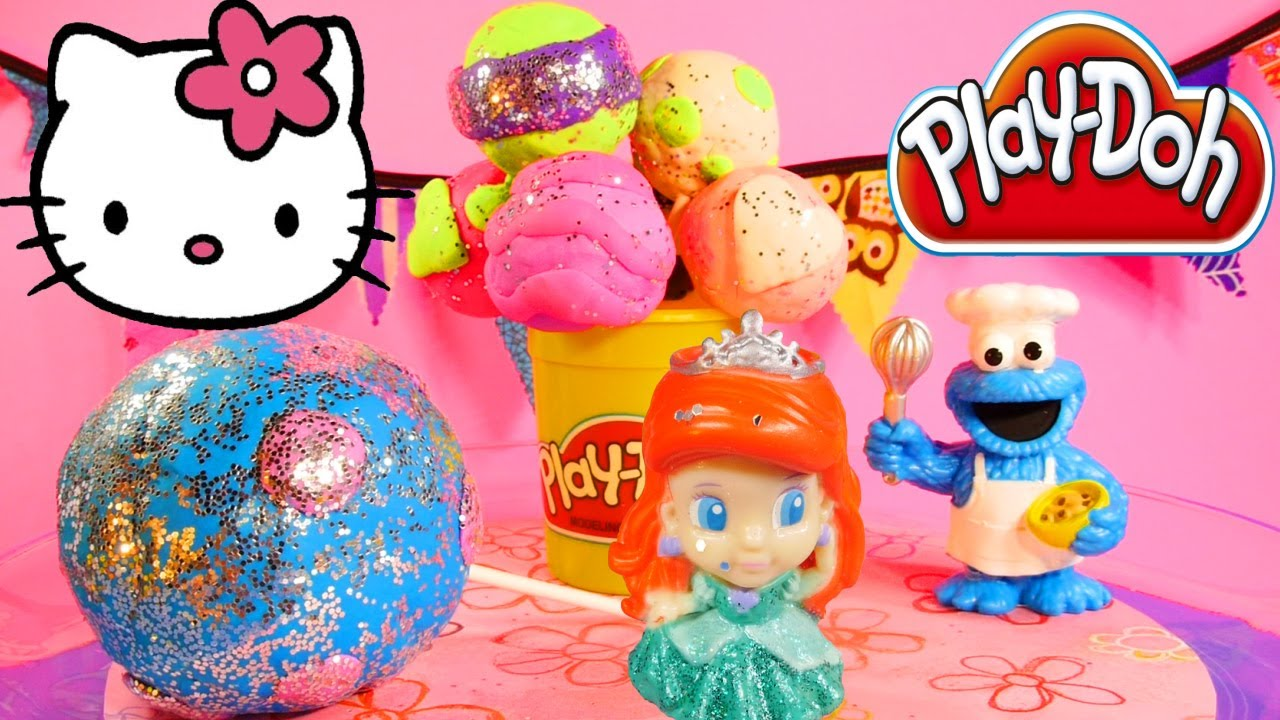 Surprise Toy Play Doh Cake Pop Eggs Disney Princess Hello ...