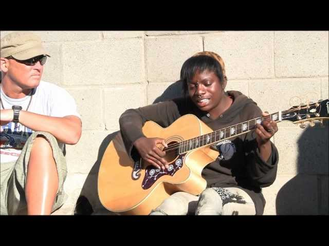 Amazing Venice Beach Homeless Girl on Guitar Voices in the Sand