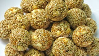Crispy Til Gud Laddu - Til Gud Ladoo Recipe in Hindi/Tilgul Recipe - How to make Til Gud Ladoo