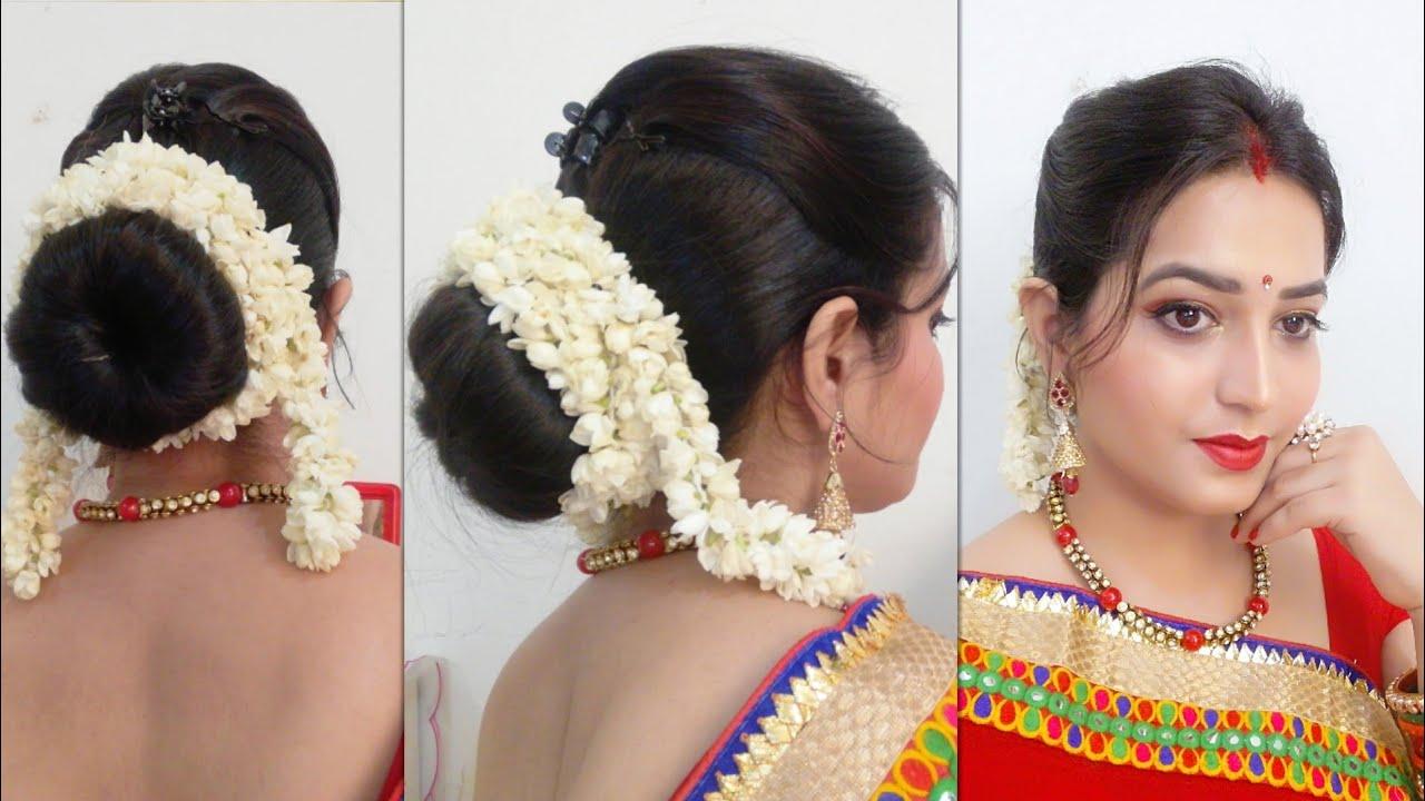 Full Gajra hair style/करवा चौथ के लिए ऐसे बनाए हेयर स्टाइल (हिन्दी में)
